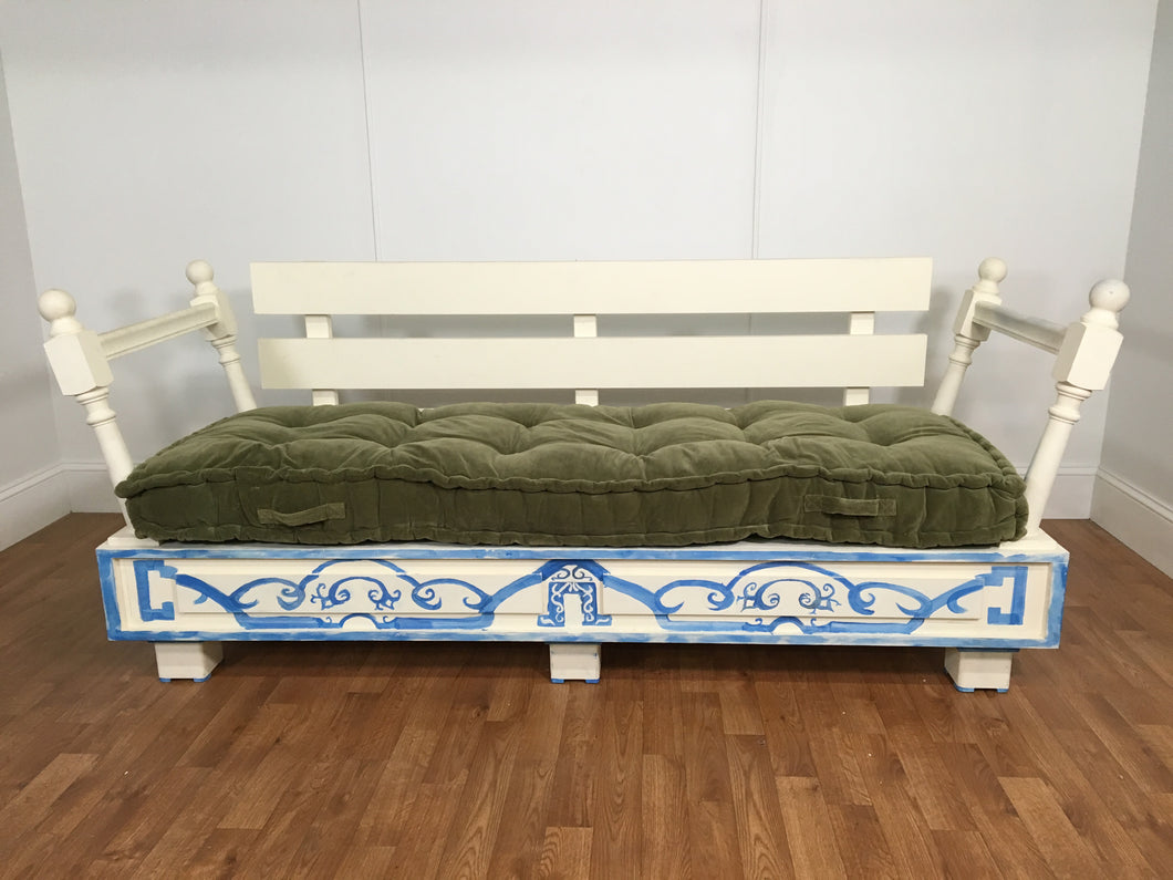 BLUE AND WHITE WOOD DAYBED WITH CUSHION OPTIONS