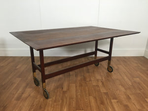ROLLING ANTIQUE DINING TABLE