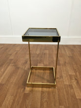 COFFEE TABLE, GOLD TRIM WITH GLASS TOP