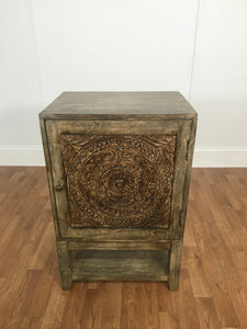 BUREAU, CARVED DISTRESSED WOOD WITH ONE SHELF