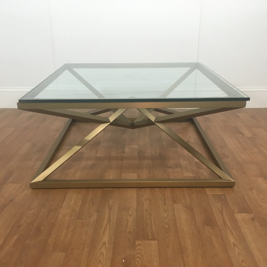 GOLD SQUARE COFFEE TABLE; SQUARE GLASS TOP