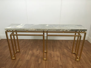 MARBLE/GOLD LEAFE LEG ACCENT TABLE