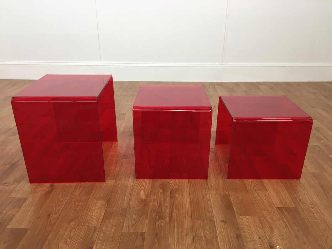 1970s PASTIC RED TRANSLUCENT TABLES