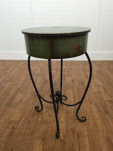 WROT IRON WOODEN OLIVE GREEN ACCENT TABLE