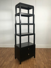 FREE STANDING DARK STAIN WOOD SHELVING UNIT