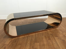 GOLD METAL/BLACK GLASS COFFEE TABLE
