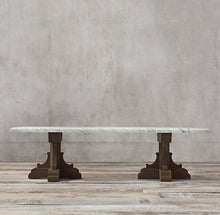 FRENCH BASTIDE OAK AND MARBLE DINING TABLE