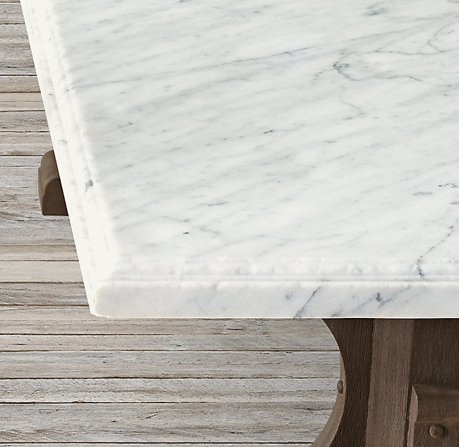 French Bastide Oak And Marble Dining Table The Prop Agency