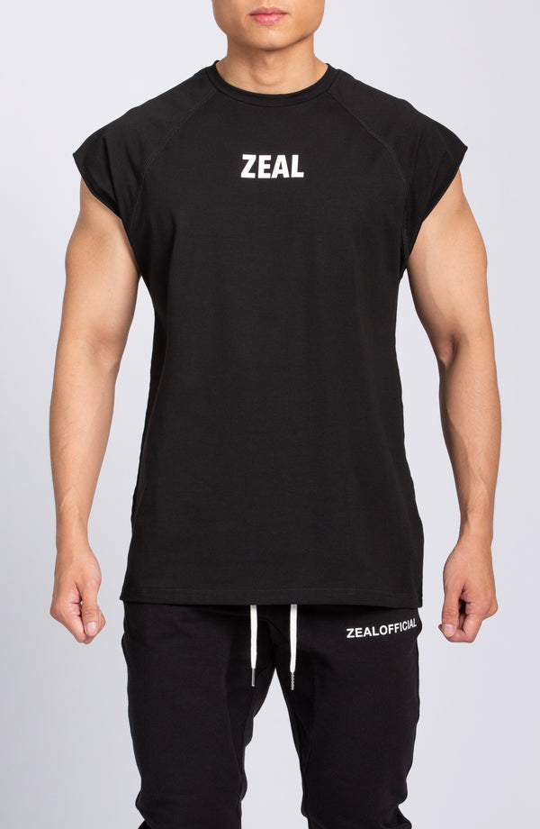 Cap Sleeve Mesh Tee - Black