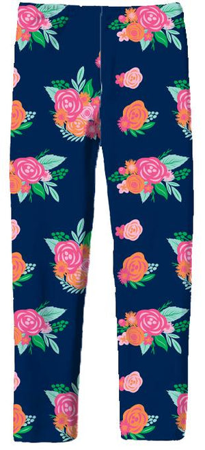 Leggings in Bouquet Navy-Pink