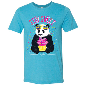 Stay Sweet Panda Shirt on Turquoise