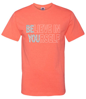 Believe in Yourself Shirt in Neon Orange