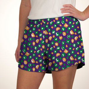 Steph Shorts in Leopard Mardi Gras