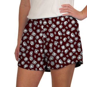 Steph Shorts in Maroon Leopard