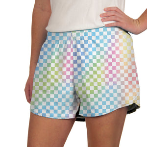 Steph Shorts Printed in Check Pastel