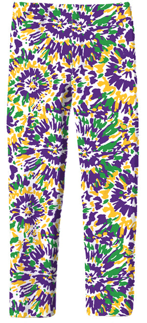 Leggings in Tie Dye Mardi Gras
