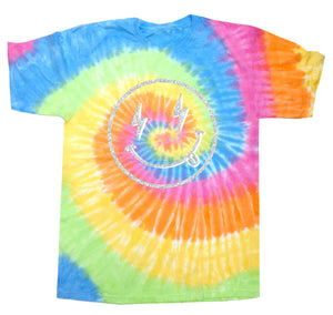 Smiley Face T-Shirt in Tie Dye Eternity with silver glitter