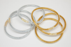 Metallic Gold Silver Bangles Waterproof for Girls - Jewelry