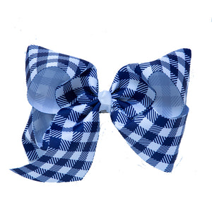 Bow in Gingham Navy