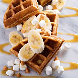 Banana and Marshmallow Waffles