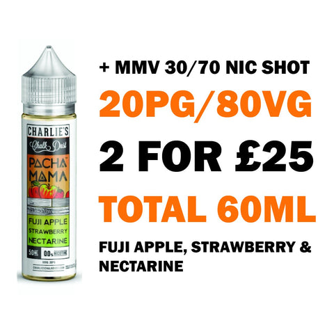 Fuji Apple, Strawberry & Nectarine 50ml Shortfill | Pacha Mama - Any 2 for £25