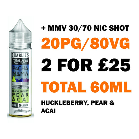Huckleberry, Pear & Acai 50ml Shortfill | Pacha Mama - Any 2 for £25