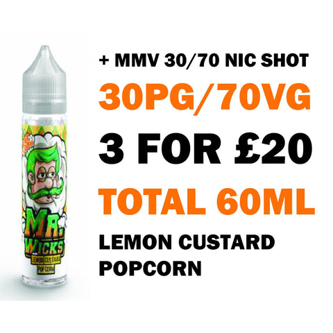Lemon Custard Popcorn 50ml Shortfill - Mr Wicks