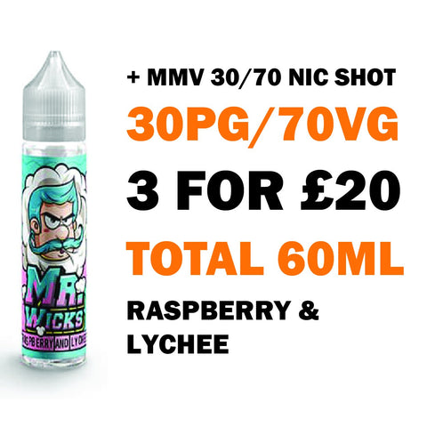 Raspberry & Lychee 50ml Shortfill - Mr Wicks
