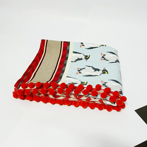 Red Chevron ( and Penguin) Homemade Throw - Comme Glom