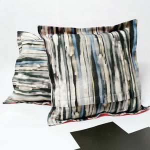 Red, Black and White Striped Cushions by Comme Glom - Comme Glom