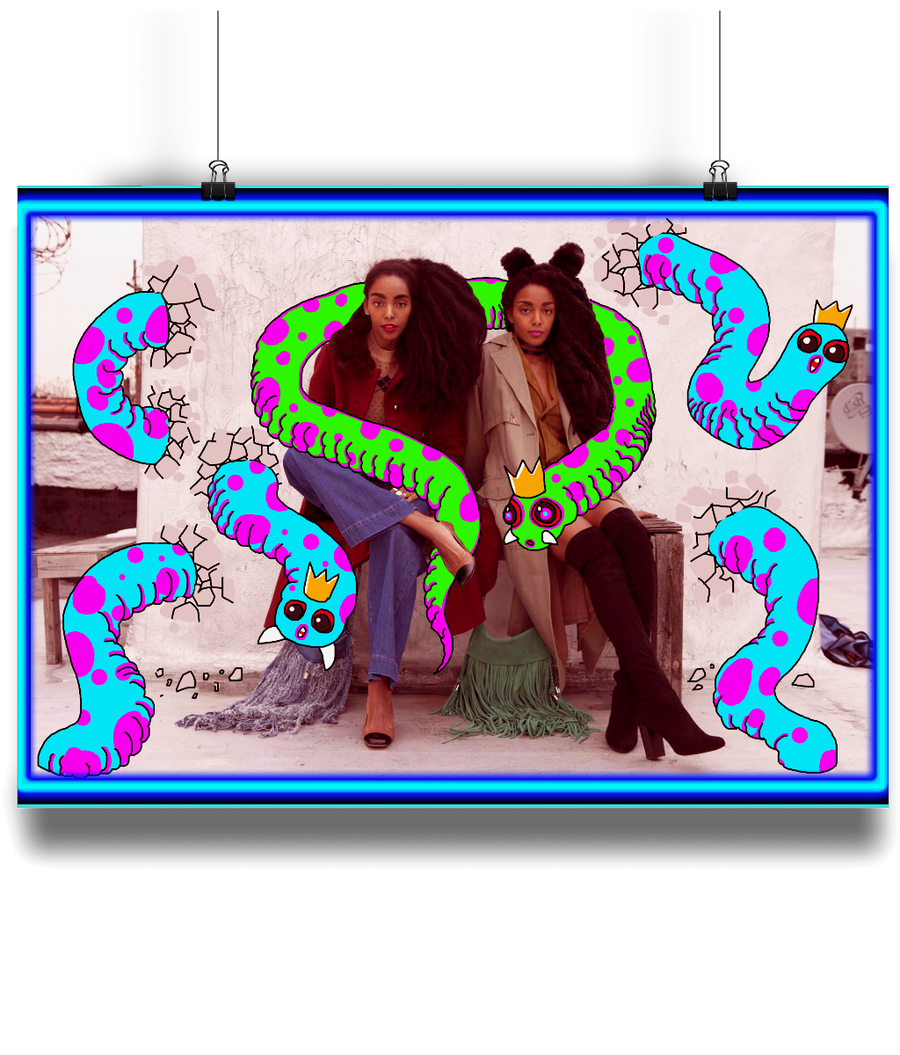 Neon Worms & the Cool Girls Poster - Comme Glom