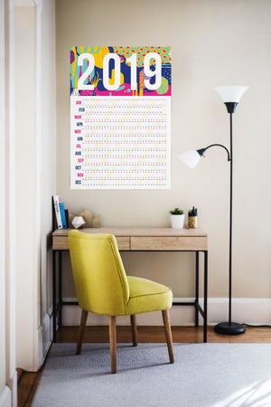 2019 Pink Pattern Wall Calendar ( multiple sizes) - Comme Glom