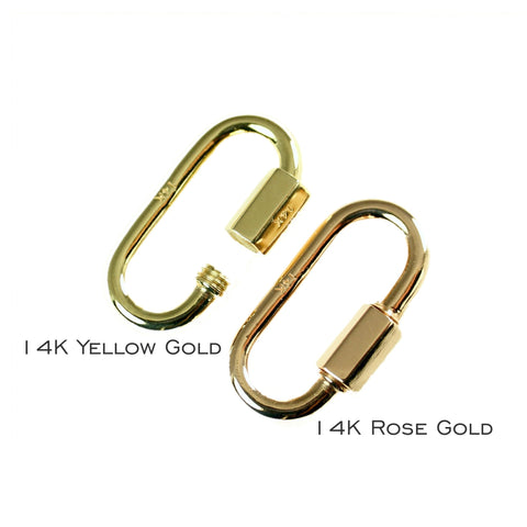 20 mm 14 karat yellow or rose gold quick link miniature lock carabiner-main