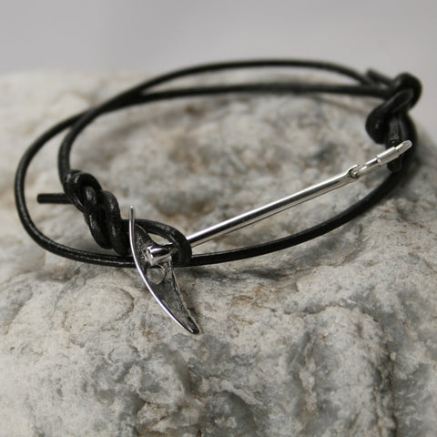 Mountaineering Ice Axe Bracelet with Tied Leather Figure 8 Knots - Handmade in sterling silver
