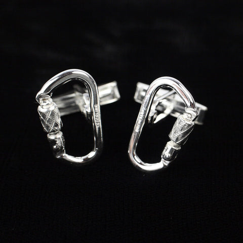 Functional Carabiner Cuff Link Pair -Sterling - Rock Climbing Jewelry