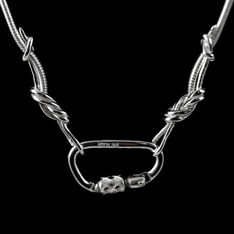 Climbing Rope Chain Necklace with Carabiner Clasp - Handmade in sterling silver - Detail