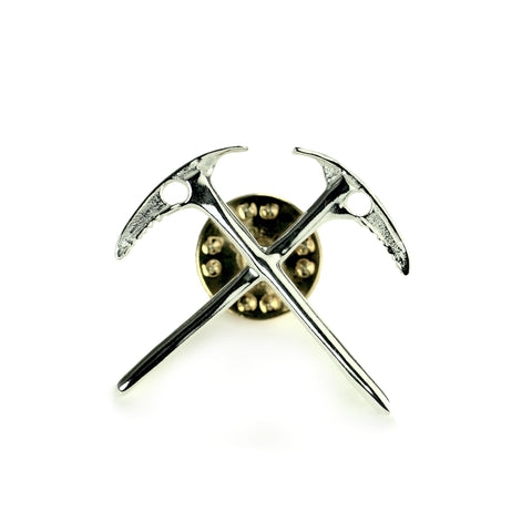 climbers crossed ice axe lapel pin sterling silver - front view