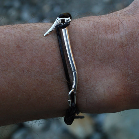 Ice Tool Ice Ax Knotted Leather Cord Bracelet - Handmade in sterling silver - Modeled
