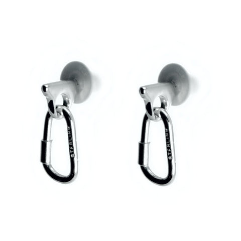 Piton with Carabiner Post Earrings - Handmade in sterling silver