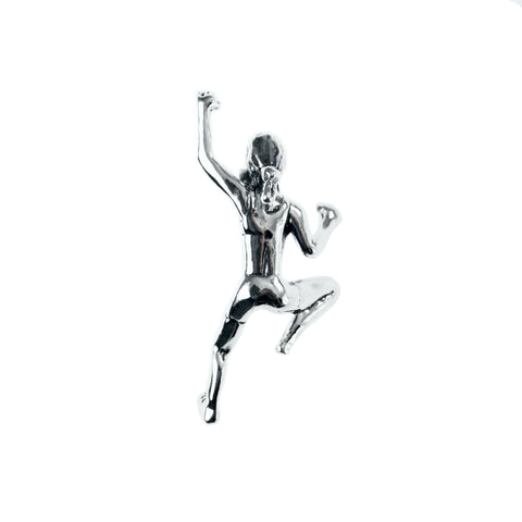 Climbing Girl Figurine Pendant - Handmade in sterling silver - Normal view