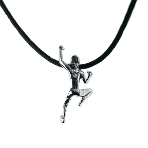 Climbing Girl Figurine Necklace - Handmade in sterling silver - shown on black nylon cord