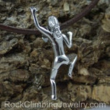 Climbing Girl Figurine Necklace - Handmade in sterling silver - Shown on brown leather cord