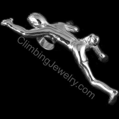 Climbing Guy Figure Pendant for cord necklace - Handmade in sterling silver