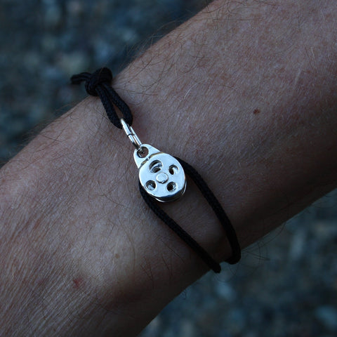 Climbers Pulley Bracelet - Sterling Silver & Nylon Cord