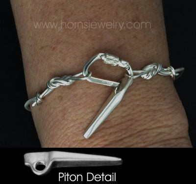 Climbing Rope Chain Functional Carabiner and Piton Anchor Bracelet - Handmade in sterling silver