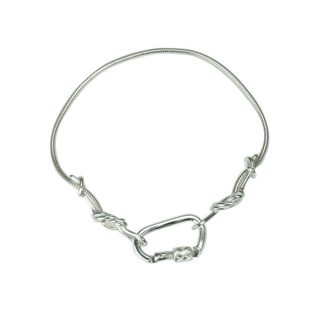 Climbing Rope Chain Bracelet - Handmade in sterling silver - Showing figure 8 ends and carabiner