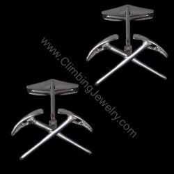 Climbers Crossed Ice Axe Cuff Link Pair - Handmade in sterling silver
