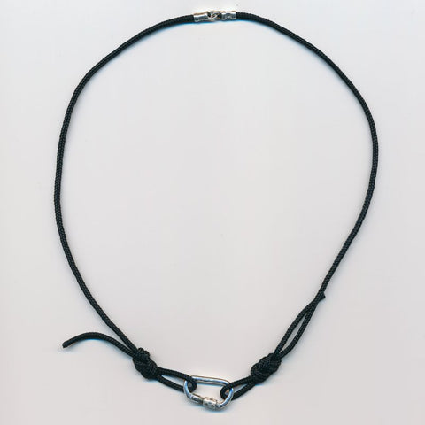 Carabiner and Nylon Figure 8 Knot Necklace - Handmade in sterling silver