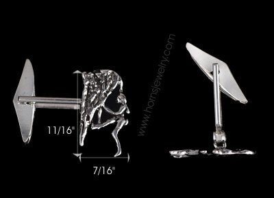 Rock Climber Cuff Link Pair - Handmade in sterling silver