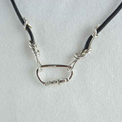 Sterling Silver Figure 8 Knot with Carabiner Leather Cord Necklace - Handmade